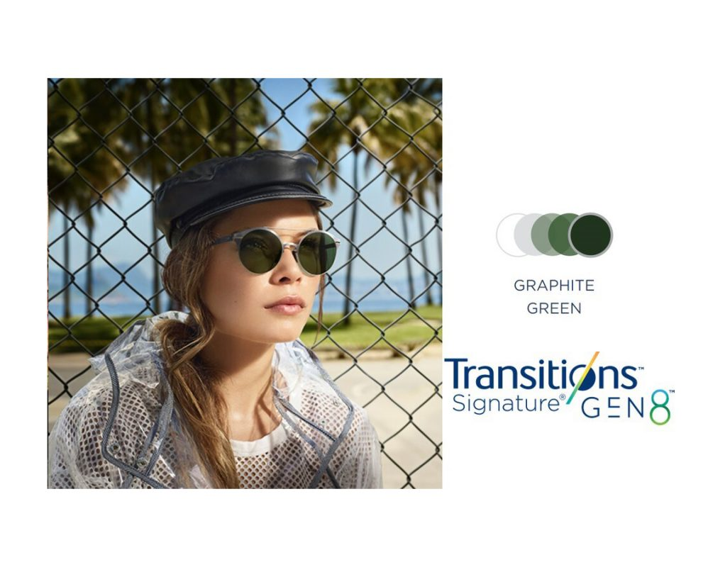 Tròng Kính Essilor Crizal Transitions Signature Gen8 Graphite Green