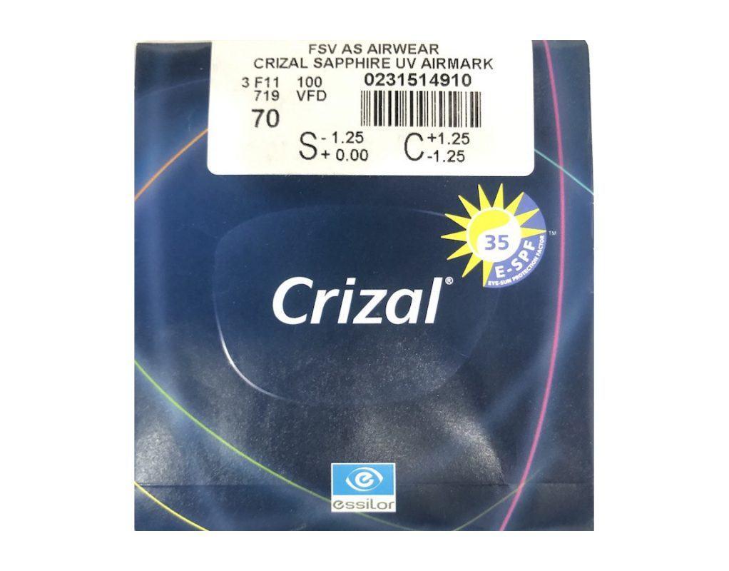 Tròng Kính Essilor Crizal Sapphire 1.59 AS Airwear